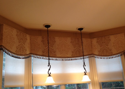 Shaped cornice with fringe